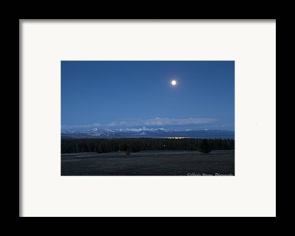 Moonrise Framed Print featuring the photograph Moonrise At Fishing Bridge by Charles Warren