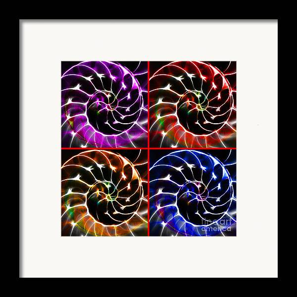 Yingyang Framed Print featuring the photograph Nautilus Shell Ying And Yang - Electric - V1 - Four Squares by Wingsdomain Art and Photography