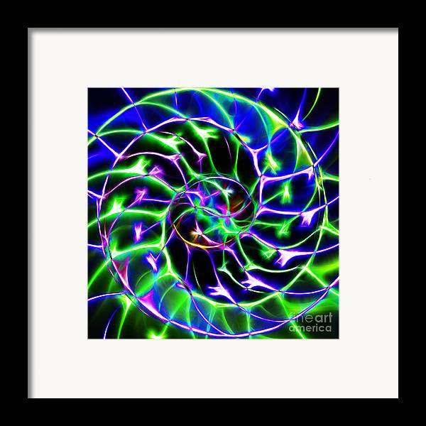 Yingyang Framed Print featuring the photograph Nautilus Shell Ying And Yang - Electric - V2 - Blue-green by Wingsdomain Art and Photography