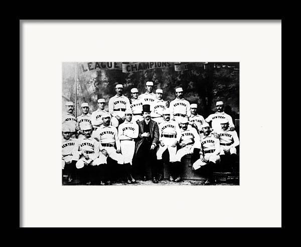 1880s Portaits Framed Print featuring the photograph New York Giants, Baseball Team, 1889 by Everett