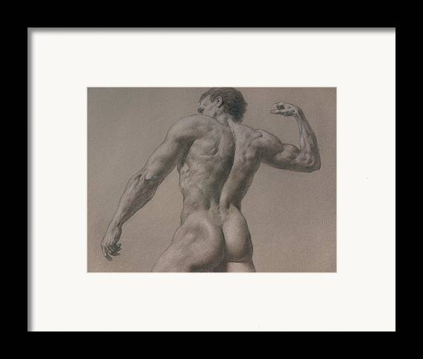 Man Framed Print featuring the drawing Nude - 8 A by Valeriy Mavlo
