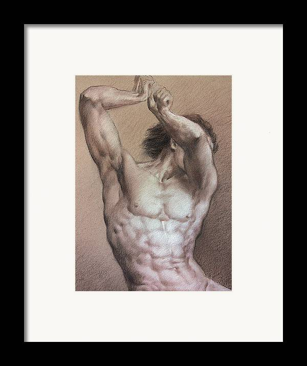 Man Framed Print featuring the drawing Nude 9 A by Valeriy Mavlo