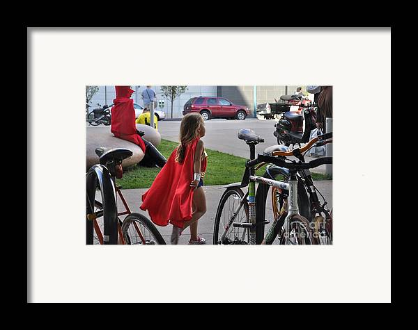 Supergirl Framed Print featuring the photograph Off To Save The World- Back By Naptime by Anjanette Douglas