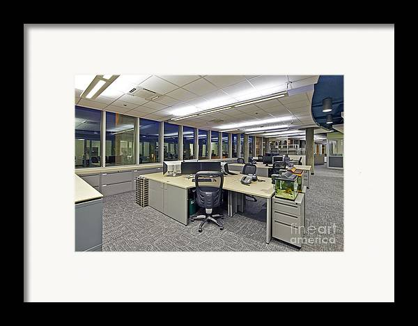 Architectural Design Framed Print featuring the photograph Office Work Stations by Francis Zera