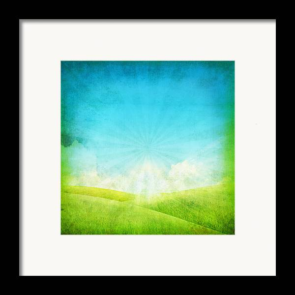 Abstract Framed Print featuring the painting Old Grunge Paper by Setsiri Silapasuwanchai