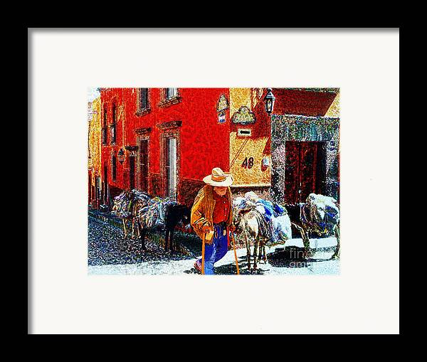 John+kolenbergold Timer Framed Print featuring the photograph Old Timer With His Burros On Umaran Street by John Kolenberg