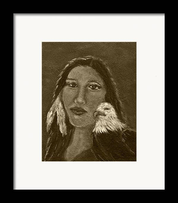 Native American Framed Print featuring the painting Onawa Native American Woman Of Wisdom With Eagle In Sepia by The Art With A Heart By Charlotte Phillips