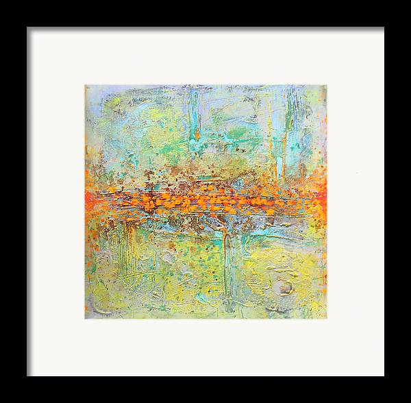 Abstract Framed Print featuring the tapestry - textile Orange Intenference by Lolita Bronzini