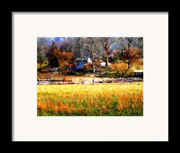 Farm Framed Print featuring the digital art Our View by Marilyn Sholin