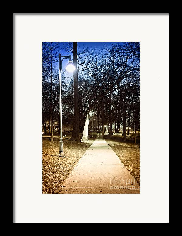 Park Framed Print featuring the photograph Park Path At Night by Elena Elisseeva