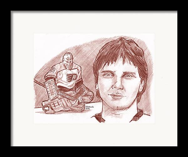 Flyers Framed Print featuring the drawing Pelle Lindbergh by Chris DelVecchio