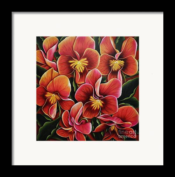 Pansies Framed Print featuring the painting Perfect Love by Paula L