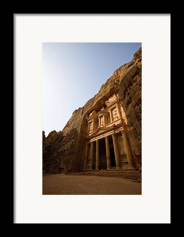 Vertical Framed Print featuring the photograph Petra Treasury At Morning by Universal Stopping Point Photography