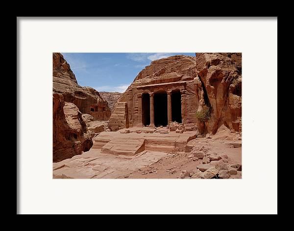 Horizontal Framed Print featuring the photograph Petra's Garden Temple by Dan Wiklund