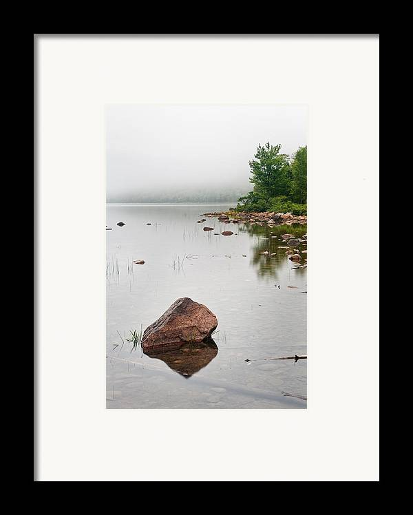 Maine Framed Print featuring the photograph Pink Granite In Jordan Pond At Acadia by Steve Gadomski