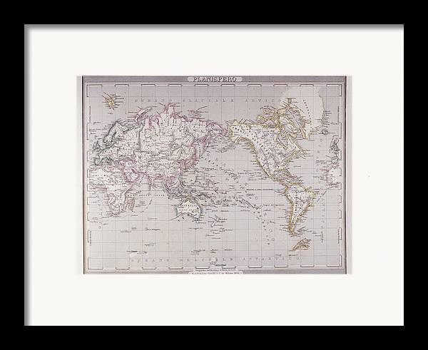 Horizontal Framed Print featuring the digital art Planispheric Map Of The World by Fototeca Storica Nazionale
