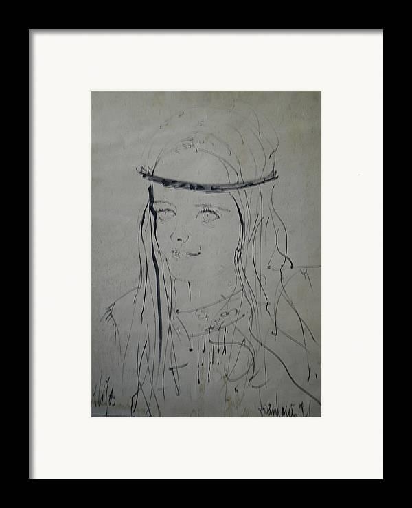 Colette Framed Print featuring the drawing Portrait 1971 Colette by Colette V Hera Guggenheim