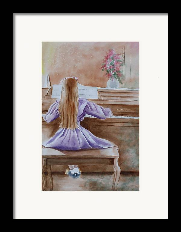 Child Framed Print featuring the painting Practice Makes Perfect by Patsy Sharpe