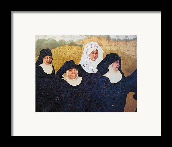 Figures Framed Print featuring the painting Praenuntius by Leda Miller