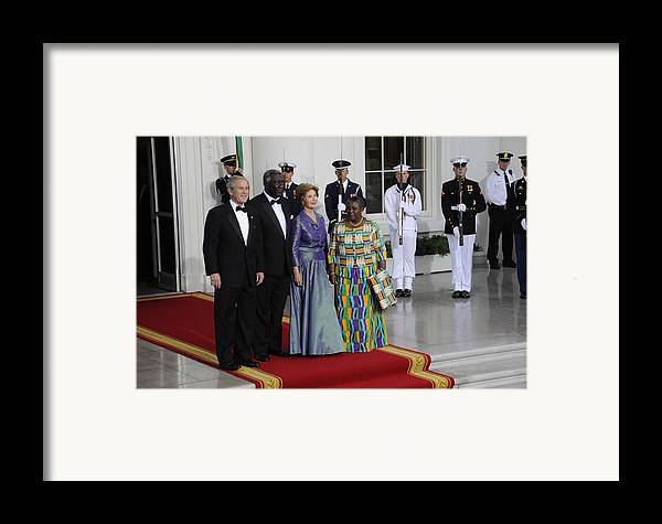 History Framed Print featuring the photograph President And Laura Bush Welcome Ghanas by Everett