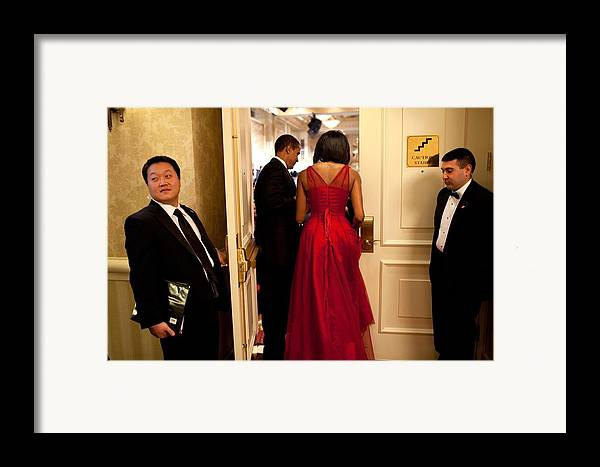 History Framed Print featuring the photograph President And Michelle Obama Make by Everett