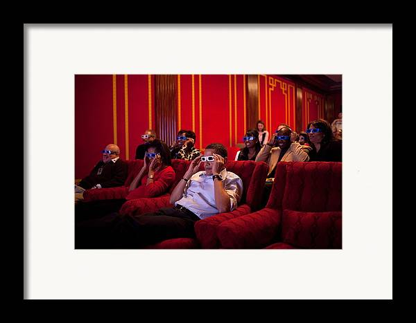 History Framed Print featuring the photograph President And Michelle Obama Wear 3-d by Everett