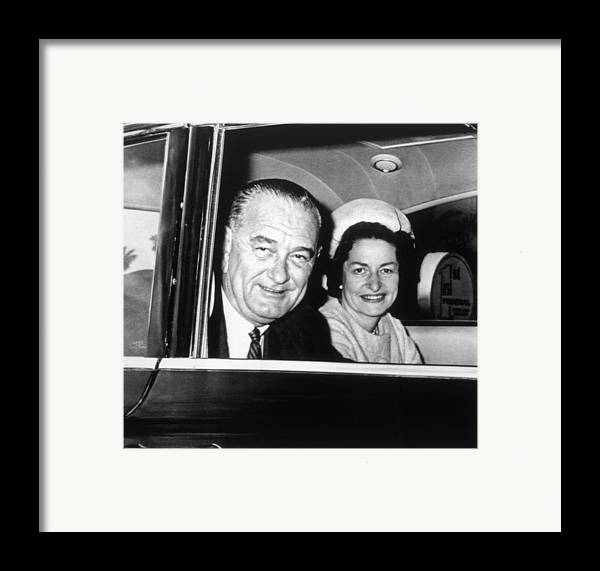 1960s Candids Framed Print featuring the photograph President Lyndon B. Johnson And First by Everett