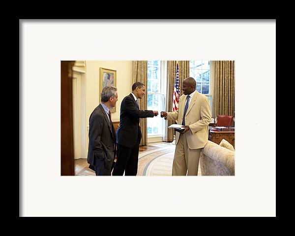 History Framed Print featuring the photograph President Obama Gives A Fist-bump by Everett
