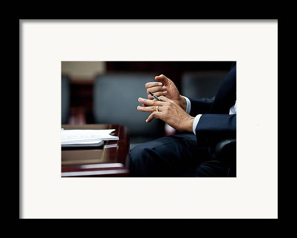 History Framed Print featuring the photograph President Obamas Hands Gesture by Everett