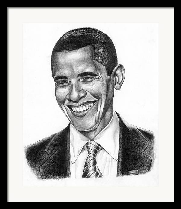 Barack Framed Print featuring the drawing Presidential Smile by Jeff Stroman