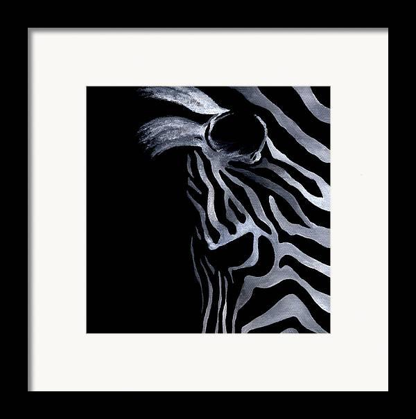 Zebra Framed Print featuring the painting Profile Of Zebra by Natasha Denger