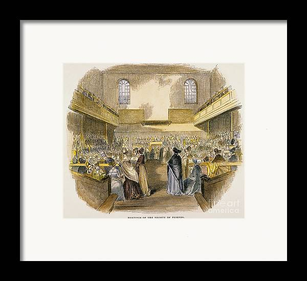 1843 Framed Print featuring the photograph Quaker Meeting, 1843 by Granger