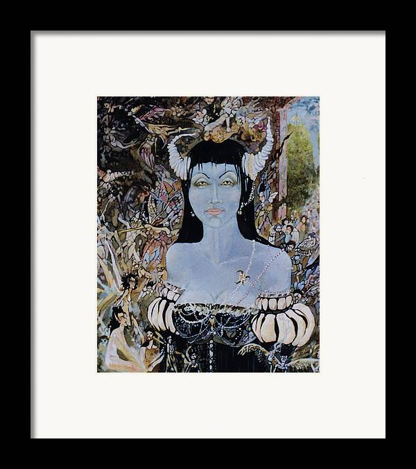 Framed Print featuring the drawing Queen Mab 1 by Jackie Rock
