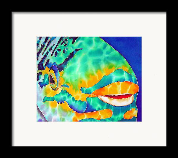 Silk Art Framed Print featuring the painting Queen Parrotfish by Daniel Jean-Baptiste