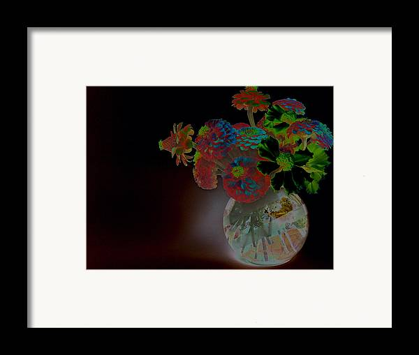 Flower Arrangement Framed Print featuring the photograph Rainbow Flowers In Glass Globe by Padre Art