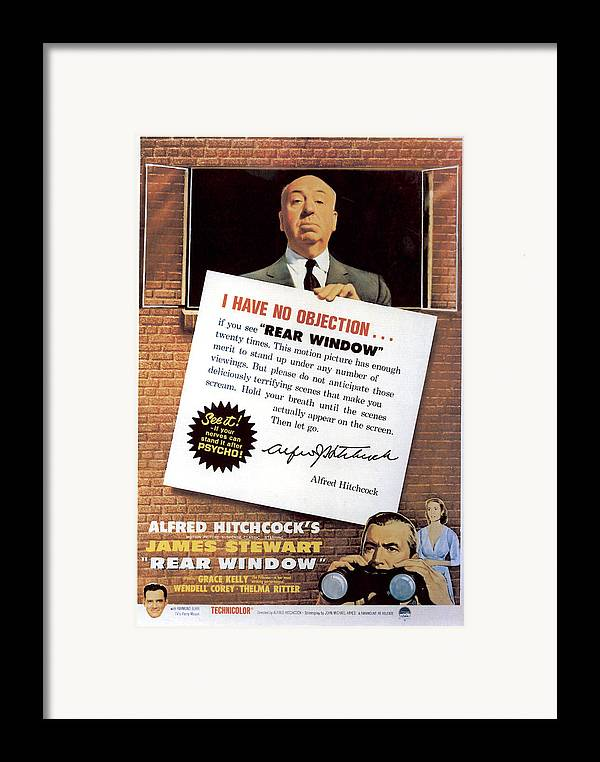 1950s Movies Framed Print featuring the photograph Rear Window, Alfred Hitchcock, James by Everett