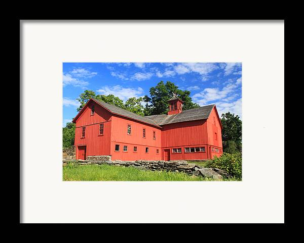 Cummington Framed Print featuring the photograph Red Barn At Bryant Homestead by John Burk