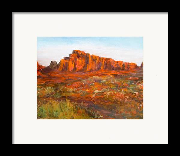 Red Cliffs Framed Print featuring the painting Red Cliffs by Jack Skinner