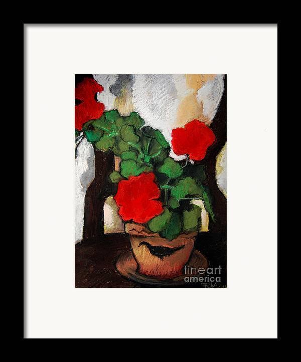 Red Geranium Framed Print featuring the pastel Red Geranium by Mona Edulesco