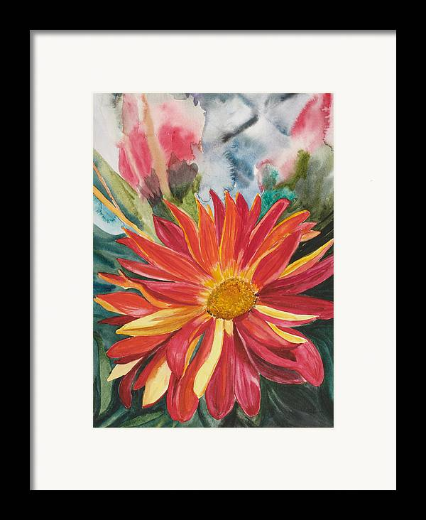 Flower Framed Print featuring the painting Red Red Red by Judy Loper