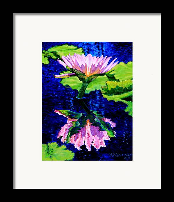 Water Lily Framed Print featuring the painting Ripple Reflections Of Beauty by John Lautermilch