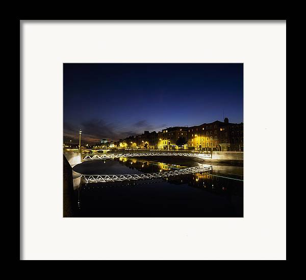 Calm Framed Print featuring the photograph River Liffey, Millenium Footbridge At by The Irish Image Collection