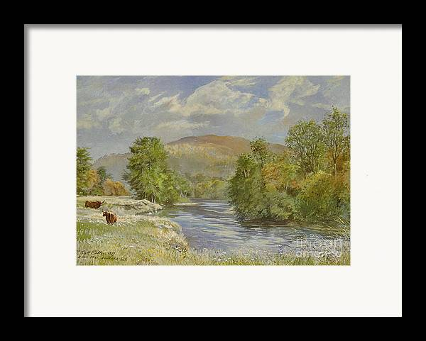 Landscape; River Scene; Highland Cattle; Meadow; Pastoral; Scottish; Hill; Hills; Tree; Trees; River Spey; Kinrara; Bull; Bulls; River; Water; Birds; Blue Sky; Sky Framed Print featuring the painting River Spey - Kinrara by Tim Scott Bolton