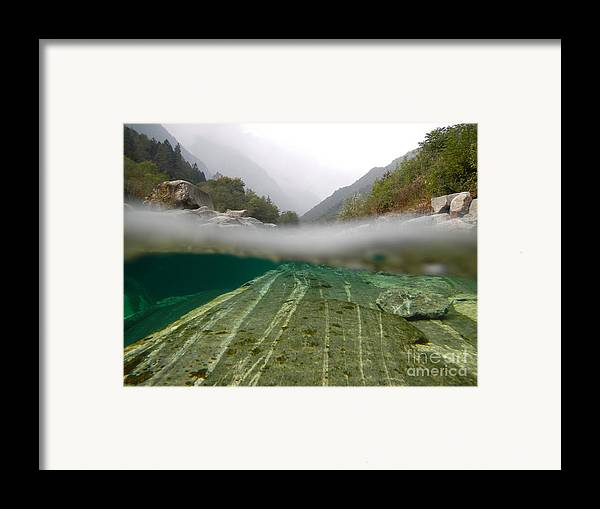 Under The Water Framed Print featuring the photograph River Surface by Mats Silvan
