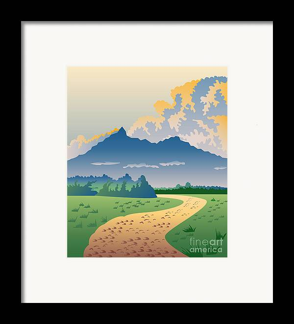 Illustration Framed Print featuring the digital art Road Leading To Mountains by Aloysius Patrimonio