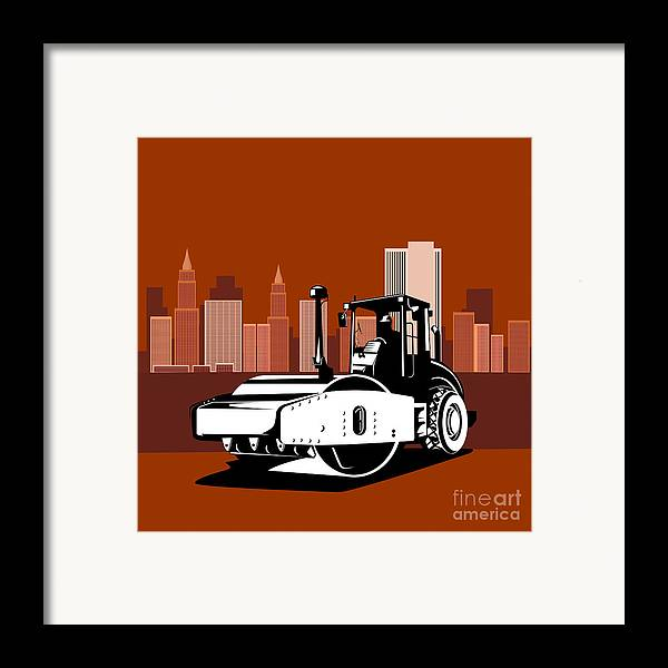 Road Roller Framed Print featuring the digital art Road Roller Retro by Aloysius Patrimonio