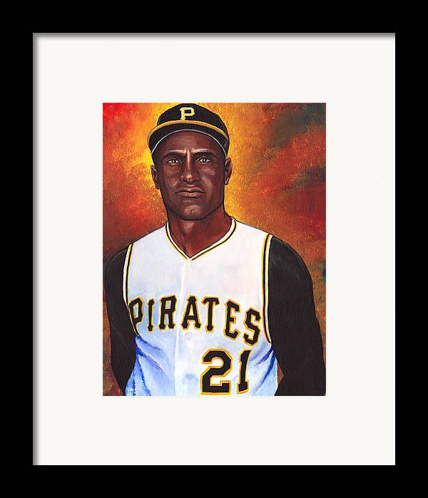 Roberto Clemente Walker Framed Print featuring the painting Roberto Clemente by Steve Benton