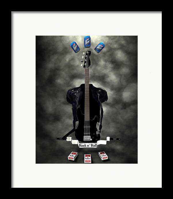 Rock N Roll Framed Print featuring the digital art Rock N Roll Crest-the Bassist by Frederico Borges