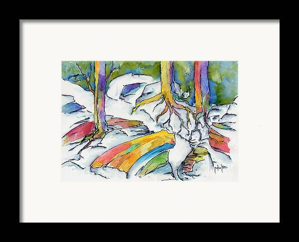 Roots Framed Print featuring the painting Roots And Rocks by Pat Katz