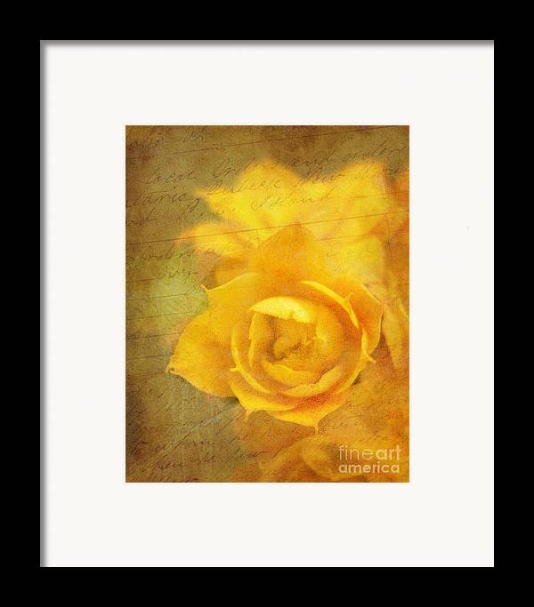 Yellow Framed Print featuring the photograph Roses For Remembrance by Judi Bagwell